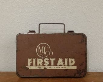 Vintage 1960's MSCO Brown Metal First Aid Kit Medical Supplies Industrial Box Merthiolate Vial Ammonia Inhalants Bandage Compresses Health