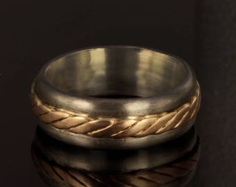 Men's 14K Gold and Silver Wedding Band, Rustic Mixed Metal Men Ring, Rose Gold Ring for Men, 8 mm Wide Ring, Sterling Silver Ring, RS-1222