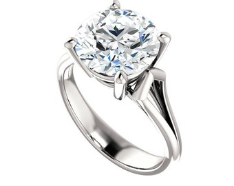 5 Carat (11mm) Round Forever One Moissanite Solitaire Engagement Ring 14k, 18k or Platinum, Anniversary Gifts for Women Moissanite Solitaire