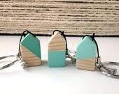 Keychain wooden house   Little wooden house keychain   Handmade   Mint
