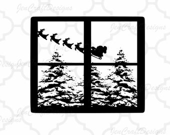Christmas Svg File Santa Scene Cutting File Glass Block Christmas Tree  SVG,EPS Png DXF,digital download files for Silhouette Cricut