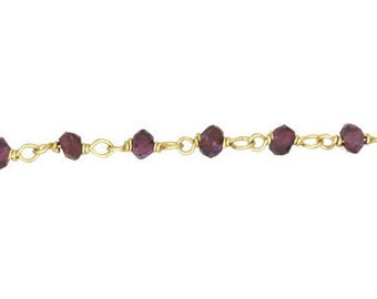 Garnet Chain - Sterling Silver Gold Plated Chain By the Foot (GP)