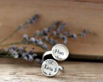 Han and Leia double book page ring.  Fandom book page ring. Book Page Jewelry. Statement ring