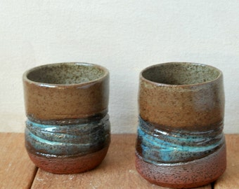 Small Ceramic Cups, Set of 2 Small Tea Cups, Speckled Terracotta Cups, Espresso Ceramic Cups, Textured Sake Cups, Coffee and Tea Lovers Gift