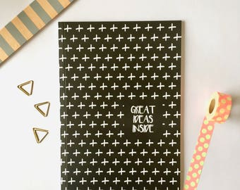 Great Ideas Inside Notebook | Goals Journal |  Blank Notebook | Diary | Journal | A5 Notebook | A5 Journal | Idea Diary | Black and White