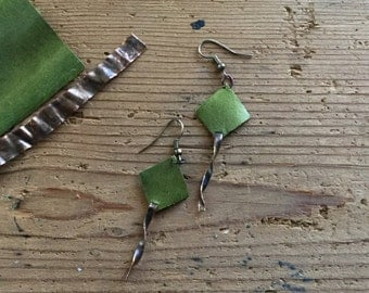Rustic Handmade Twisted Copper Earrings (Green Leather)