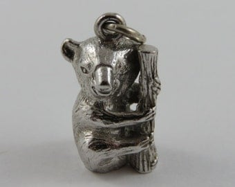 Koala Bear on a Branch Sterling Silver Vintage Charm For Bracelet