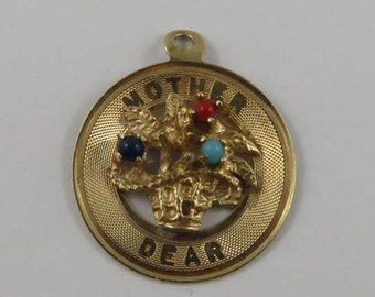 Mother Dear Flowers With Colourful Stones 14K Gold Vintage Charm For Bracelet