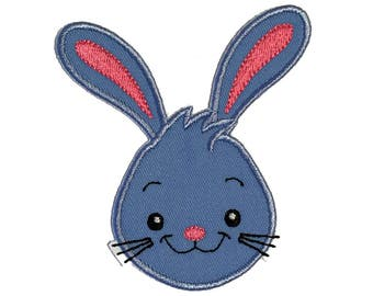 Easter Bunny Boy Applique Patch Blue, Easter Rabbit Baby Boy Applique Patch, Embroidered, Handmade, Iron on Sew on.