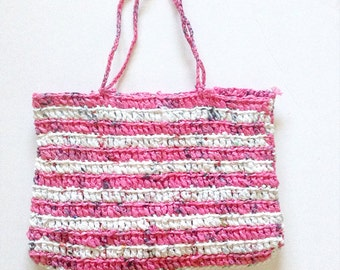 Zero Waste Eco Friendly Upcycled Plarn Crochet Tote / Handbag - Support Planned Parenthood