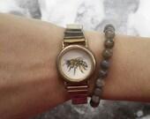 Tiny Watercolor Bee Bracelet // Original Painting set in Vintage Watch