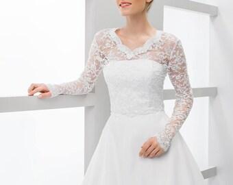 White Long Sleeve Lace Bridal Jacket | Ivory Long Sleeve Bridal Jacket