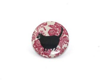 black cat button, funny cat badge, pinback button pin, cat button, pin back, cute cat, smiling cat, creepy cat, cute cat, happy cat, fat cat