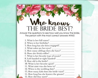 Bridal Shower Game Download - Who Knows the Bride Best - Peony Bouquet- Instant Printable Digital Download - diy Bridal Shower Printables