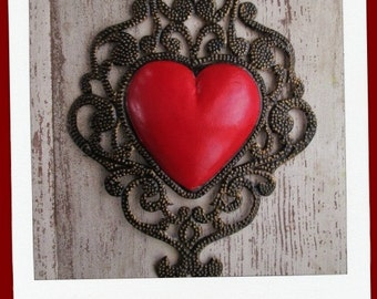 Mexican Tin Heart, Punched Tin Heart with Scroll Design, Mexican Folk Art, Tin Wall Heart