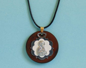 Mother Mary & Child Olive wood Pendant – Necklace - Adjustable black cord - Handmade