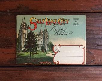1940s Salt Lake City Postcard Book/ Utah/ 10 Double-Sided Photos/ Unused!!!