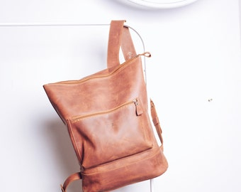 HandMade LEATHER BACKPACK  / Handcrafted leather Rucksack with one front zipper pocket / Cognac Brown Leather bag