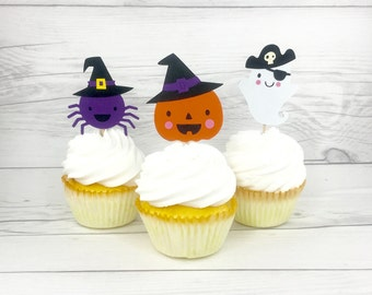 Halloween Cupcake Toppers, Halloween Theme, Pumpkin Toppers, Halloween Party, October Birthday, Pumpkin Theme, Ghost Cupcake Topper