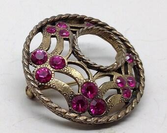 Vintage Purple Rhinestone Wreath Brooch