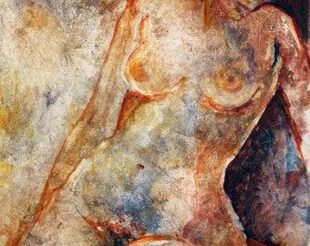SALE Portrait Print, Erotic Print, Nude Female Painting Print, Sensual Art,  Bedroom