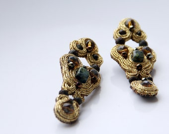 Gold soutache earrings / Art Deco Jewelry Beaded earrings / Regalos de aniversario / Long Statement Bronze Earrings / Unique Marriage Gifts