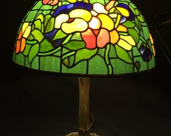 Etsy your place to buy and sell all things handmade small colorful pansy lamp tiffany style lamp vintage stained glass mozeypictures Image collections