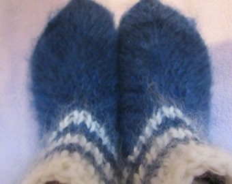 Hand knit slippers,blue color,sheep wool,mohair wool,thick,warm,soft.bed socks. UK 4-10, USA 5-11,EU 35-45.Kozizake.
