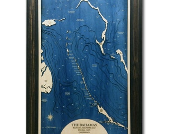 Bahamas Archipelago Dimensional Wood Carved Depth Contour Map - Customize With Your Home Information