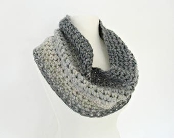 Mother day gift for wife gifts Crocheted scarves Grey ombre scarf Light gray scarf Dark gray scarf Chunky knit scarf Handmade scarf granite
