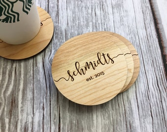 Wood Coaster Set | Gift For Her | Personalized Couple | Christmas Gift | Stocking Stuffer | Personalized Gift  Gift for Mom | Grandma Gift