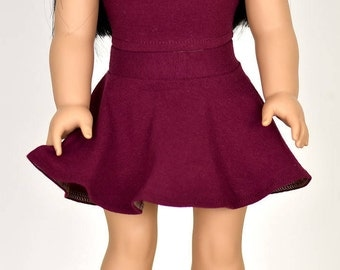 Skater Skirt Color Burgandy 18 inch doll clothes