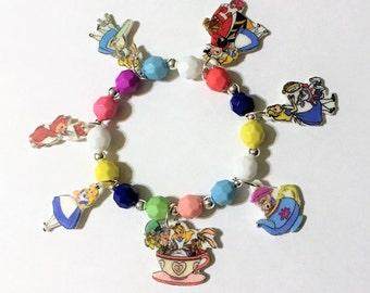 Alice in Wonderland Charm Bracelet, Alice in Wonderland Jewelry, Girls Charm Bracelet
