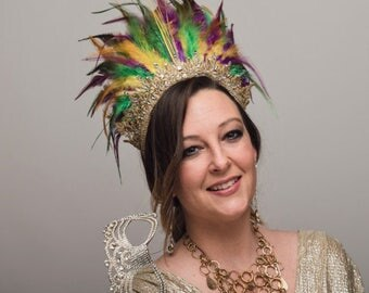 Mardi Gras Feather Halo Headdress Green Purple Gold Queen Crown Festival Parade Carnival Headpiece Gem New Orleans Yellow Feathers Headwear