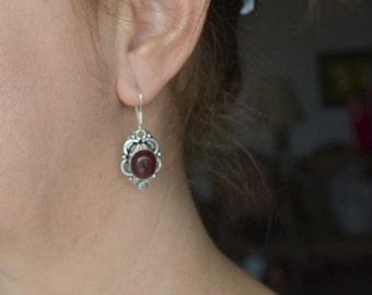 Red Stone Earrings, Red Onyx Earrings, 925 Silver Plated Earrings, Handmade Earrings, Gemstone Earrings, Tribal Earrings, Ethnic (E418)