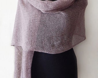 Knitted linen lace scarf, brown linen scarf, knitted long wide scarf, coffee scarf, linen wrap, woman scarf, brown lace wrap, summer scraf