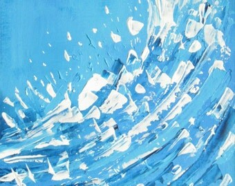 Wave painting, original beach art, acrylics on board, 10 x 14 inches, blue white big swell, surfer art, unframed ocean artwork