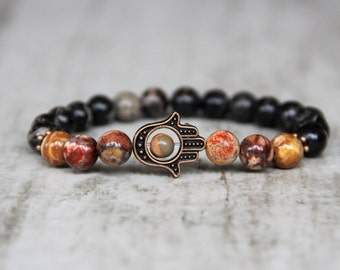 hamsa hand bracelet brown bracelet mens bracelet protection bracelet healing bracelet boyfriend gift Jasper beads for him gifts for guys