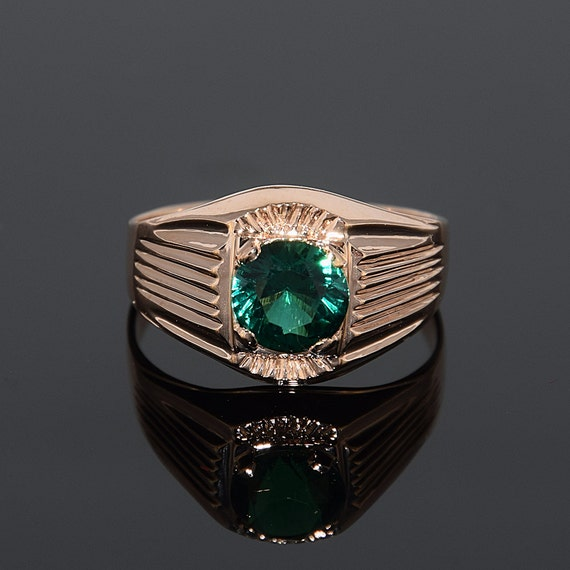 Signet ring Emerald ring Men gold ring Men signet ring