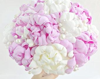 Pink Blush Bridal Bouquet,Ivory flowers Bouquet, White Wedding Bouquet, Bridesmaid Bouquet, Flower Bouquet Garden Rose Brooch Bouquet