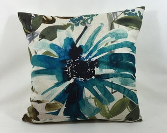 """Chivasso Fabric -  Flowers Of Paradise - Teal   20""""x20"""" - Stunning -cushion cover - pillow throws"""