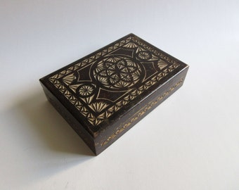 vintage 50's hand carved wooden box, jewelry box