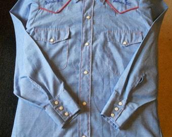 Vintage Buffalo Bill Western Shirt Mens Small Pearl Snaps