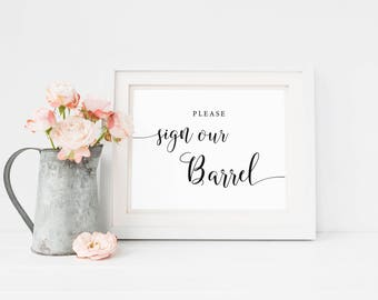 Sign our Barrel Wedding Sign Printable, Wine Barrel Guest Book, Rustic Wedding Signage, Vineyard Wedding, Guestbook Alternative, Download