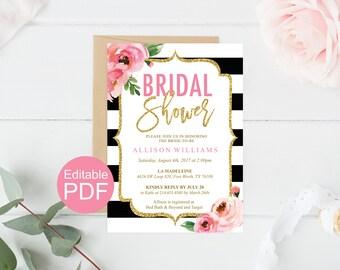Floral Bridal Shower Invitation Template, Kate Bridal Shower Invites, DIY Printable  Wedding Shower,