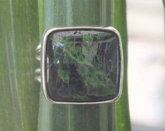 Silver ring solid 950 and diopside chrome size 54 ~ 55 / 7 US