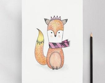 Baby Fox, Modern Nursery Kids Wall Art Print