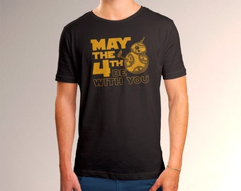 """Star Wars BB8 """"May the 4th Be With You"""" Men's T-Shirt"""