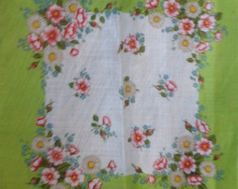 Kreier 100% Cotton Handkerchief - Geometric Floral Design in Green and White with Daisies  - New and Unused From Vintage 1970 Stock