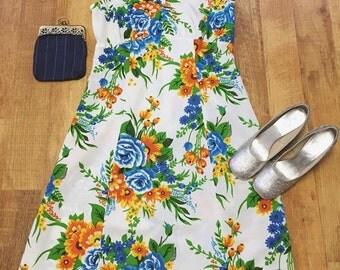 60's floral Summer Dress Medium